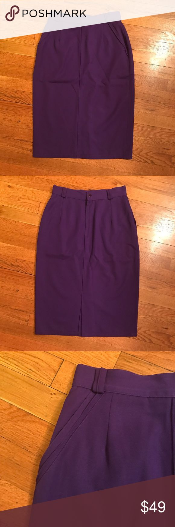 Vintage Gianni Versace Purple Pencil Skirt Exuberant purple pencil skirt from the famed Gianni Versace. Sure to be a standout piece. Pockets in the front, and button and zipper and slit in the back. No size tag but I would estimate size 2-4 and please see measurements. Length is 27 inch. Across the waist is 13.75 inch. Please ask if you'd like more measurements! Versace Skirts Pencil