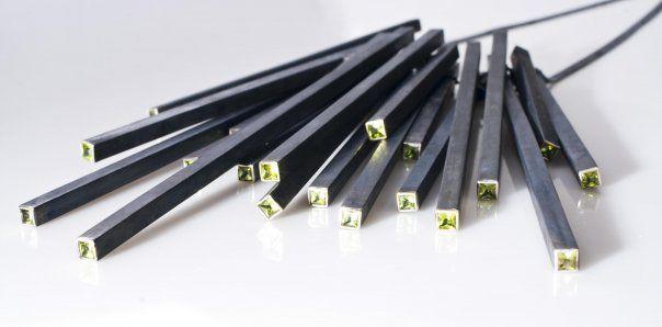 "Gonzalo Palma necklace - collar ""one black city"" - oxidised silver, peridots -  http://www.gonzalopalma.com/"