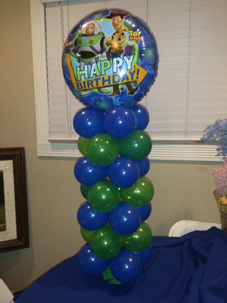 Toy story balloon mini column centerpiece created by yola