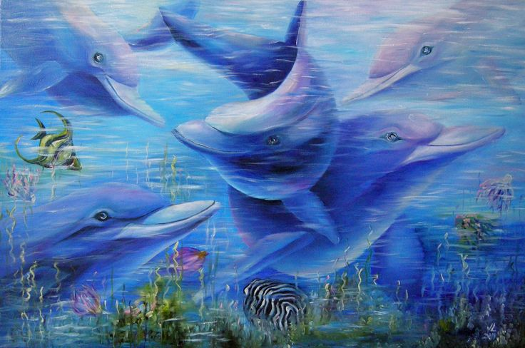 Dolphins 60x90, oil/canvas