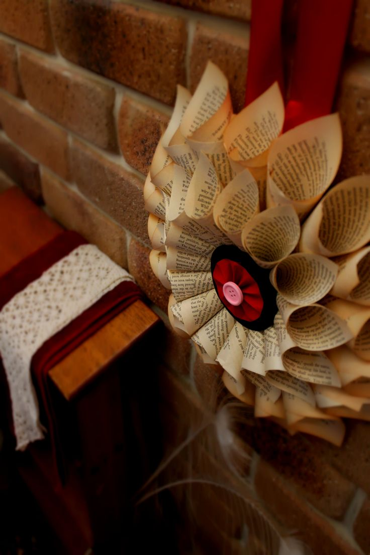 Book Page Paper Wreath Red - Large $17.95