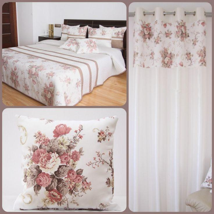 Bílo-hnědý vintage set do ložnice s růžovými květy