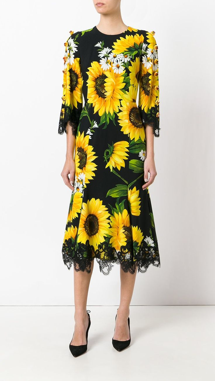 DOLCE & GABBANA daisy print dress, shop now at Farfetch.