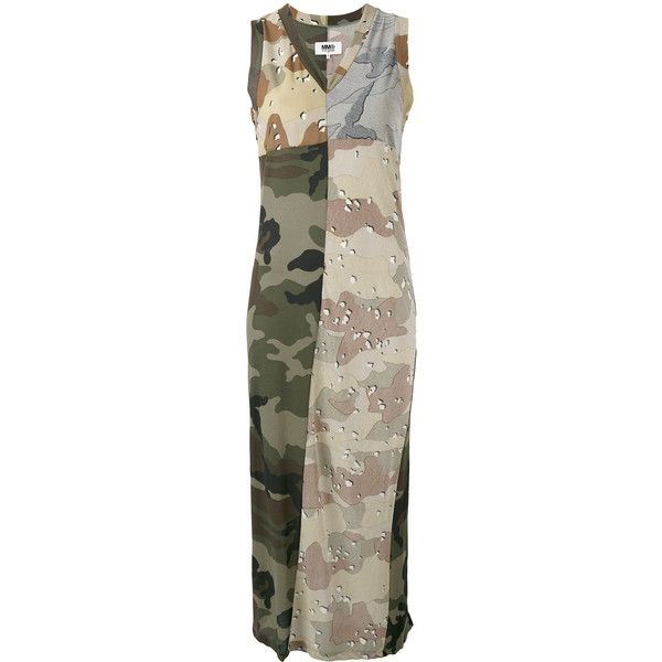 Mm6 Maison Margiela camouflage print maxi dress ($228) ❤ liked on Polyvore featuring dresses, green, green maxi dress, brown cotton dress, camouflage dresses, green color dress and camo print dress