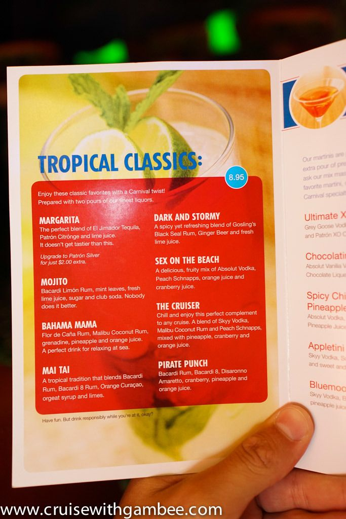 Carnival Cruise Line Drink Prices - cruise with gambee