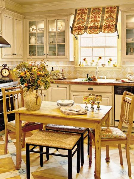 glass-front cabinets flank the window: On A Budget, Cabinets, Kitchens Window, Budget Kitchens, Kitchens Ideas, Window Treatments, Kitchens Makeovers, French Country Kitchens, French Country Chic