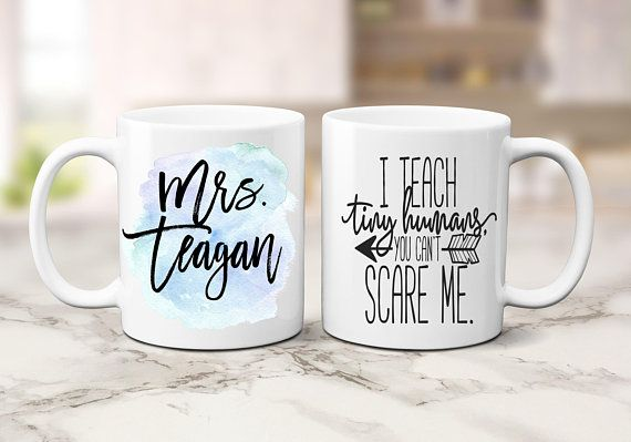 Personalized teacher travel mugs for coffee or tea Makes a great teacher appreciation or end of year gift.