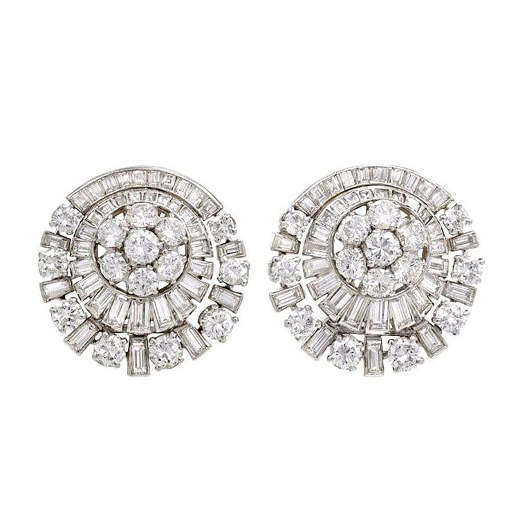 1950s French Diamond Clip Earrings | From a unique collection of vintage clip-on earrings at http://www.1stdibs.com/jewelry/earrings/clip-on-earrings/