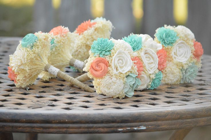 Small Wedding Bouquet Ivory Mint Coral Sola Flowers and dried Flowers Bridesmaid Keepsake by StellaDesignsShop on Etsy https://www.etsy.com/listing/218715819/small-wedding-bouquet-ivory-mint-coral