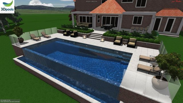 Elegant family pool with loads of space, 12.5m lap lane & wet edge spillover. Buy this pool design and many more stylish designs at www.3d-pools.com.au