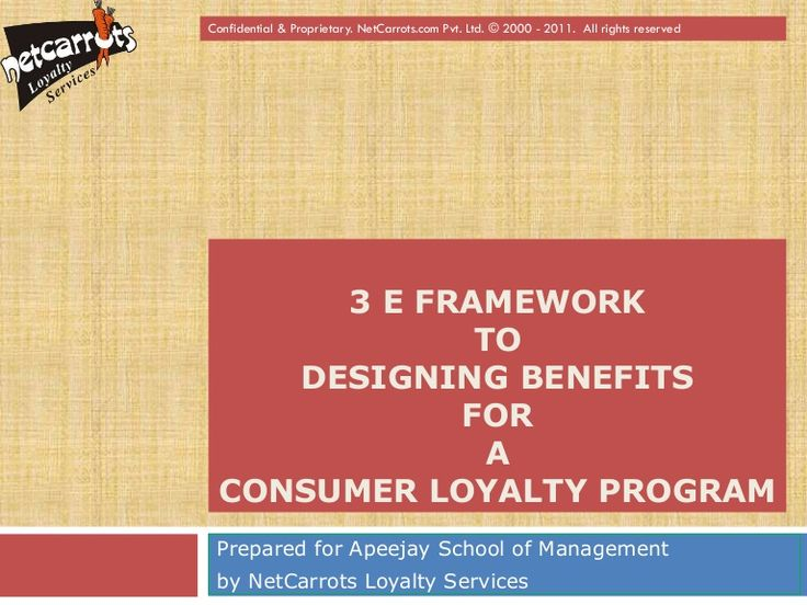 Confidential & Proprietary. NetCarrots.com Pvt. Ltd. © 2000 - 2011. All rights reserved      3 E FRAMEWORK             TO    DESIGNING BENEFITS            FOR …
