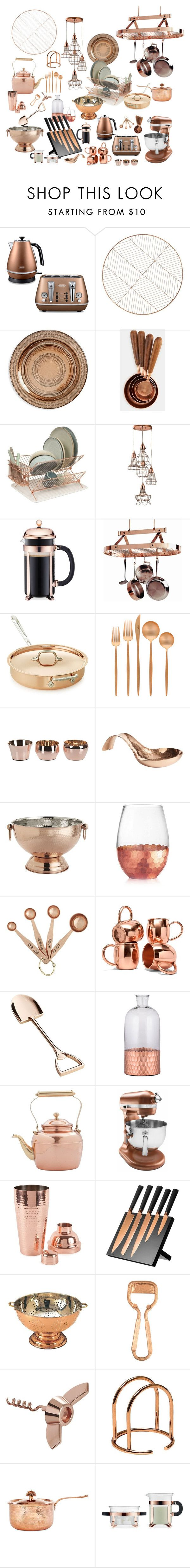 """Copper/Kitchen"" by heyjerseygirl ❤ liked on Polyvore featuring interior, interiors, interior design, home, home decor, interior decorating, DeLonghi, CB2, Europe2You and Bodum"