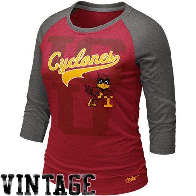 Nike Iowa State Cyclones Women's Vault Raglan Premium T-Shirt - Cardinal-Charcoal