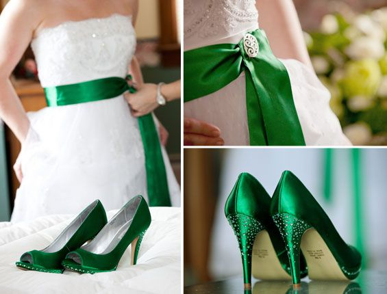 Everyone's irish on march 17th. Love the green heels for this Irish Wedding Styled Shoot!