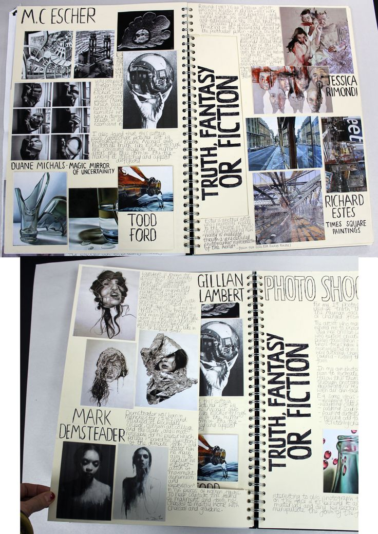 AL A2 Fine Art, A3 Cream Sketchbook, Brainstorm, ESA Theme 'Truth Fantasy or Fiction', Thomas Rotherham College, 2016