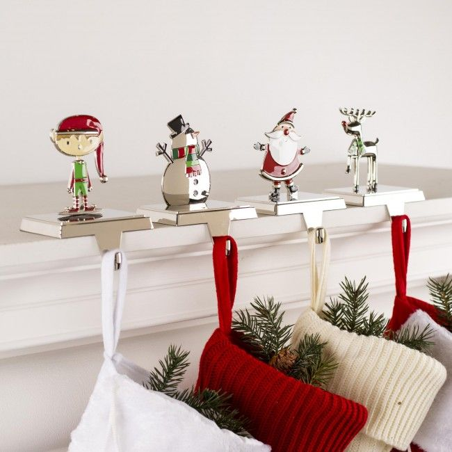 Hang your stockings by the chimney with care without harming your fireplace mantle. This set of four weighted stocking holders sits atop your mantle and lets you display your stockings in preparation for St. Nick's arrival. (Note: Will not hold the weight of a stocking filled with coal!)