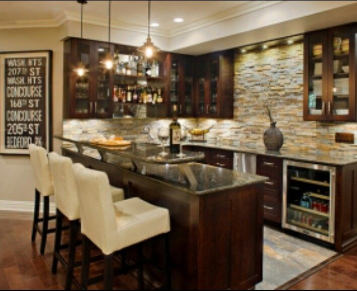 Man Cave Kitchen Ideas : Dark cabinets stone backsplash kitchen pinterest