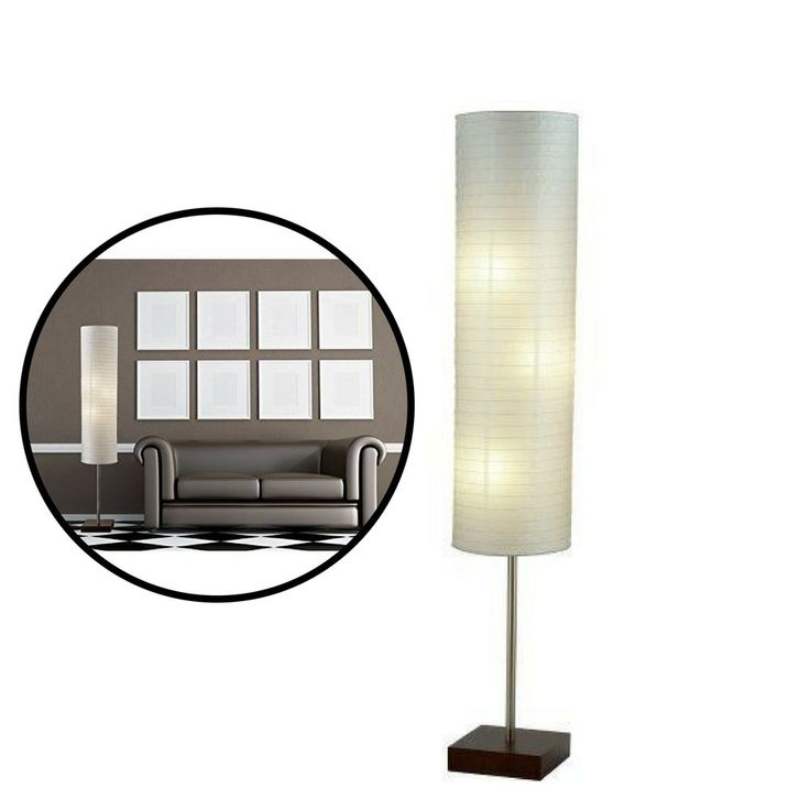 Floor Lamp Floorchiere Light Home Contemporary Decor Rice Paper Shade Walnut #Unbranded #Contemporary