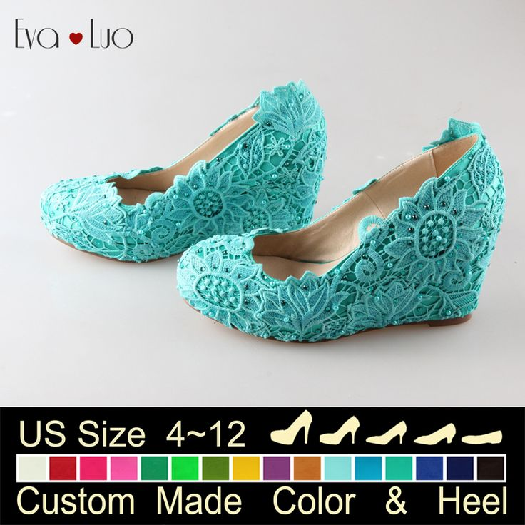 CHS434  DHL Express Many Colors Custom Made Turquoise Lace Wedge Heel Wedding Shoes Women High Heel Shoes Chassure Femme-in Women's Pumps from Shoes on Aliexpress.com | Alibaba Group
