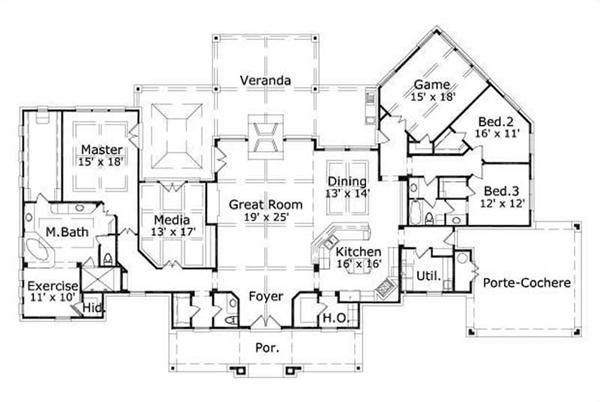 I like the master suite area with exercise office space Basement in law suite floor plans