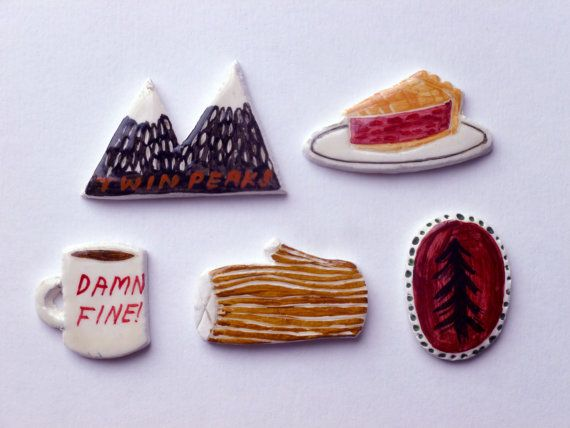 Set includes - Twin peaks mountains, log, cherry pie, damn fine coffee and a pine tree. Handmade from clay, painted and varnished. (Brooch backs or