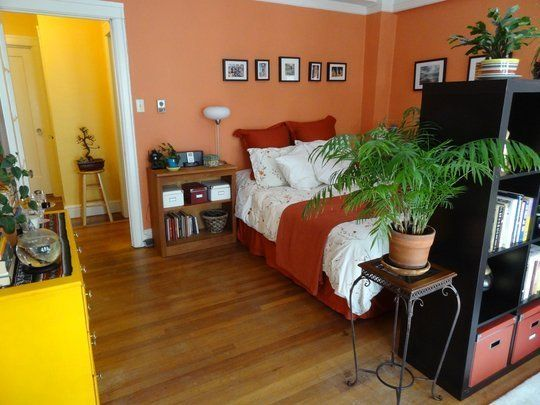 100 fotos e ideas para pintar y decorar dormitorios - Habitaciones color naranja ...