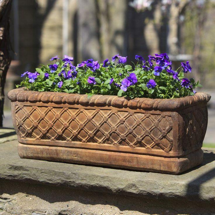 Campania International Woven Cast Stone Window Box Planter
