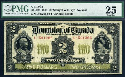 Dominion of Canada Notes Two Dollars banknote of 1914, Portraits of Duke and Duchess of Connaught.