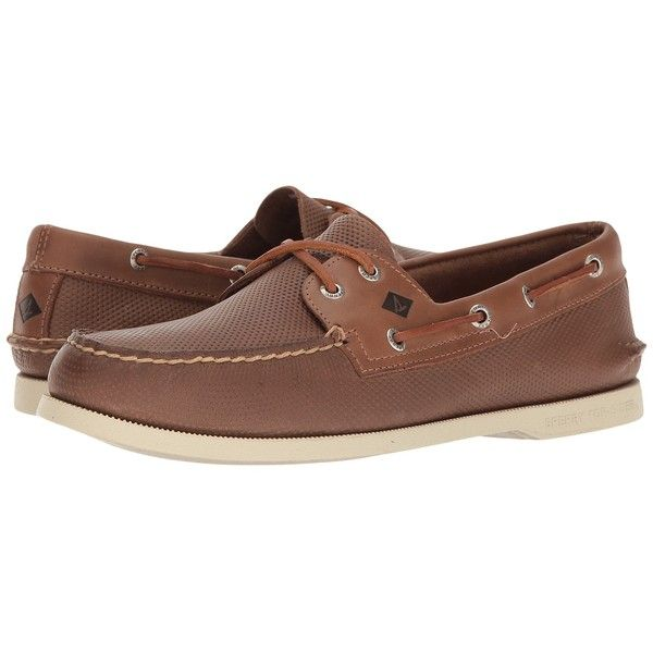 Sperry Top-Sider A/O 2-Eye Perfed (Tan) Men's Lace up casual Shoes ($110) ❤ liked on Polyvore featuring men's fashion, men's shoes, sperry mens shoes, mens shoes, mens lace up shoes, mens moccasins shoes and mens perforated shoes