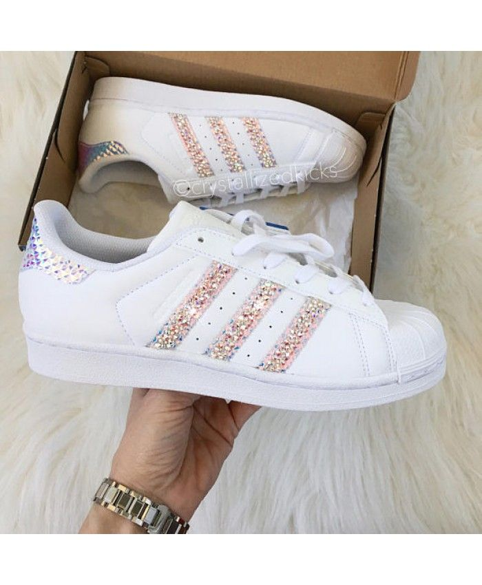 Adidas Superstar White Trainers With Blinged Rose Crystals UK Clearance 5ad4e8ad40
