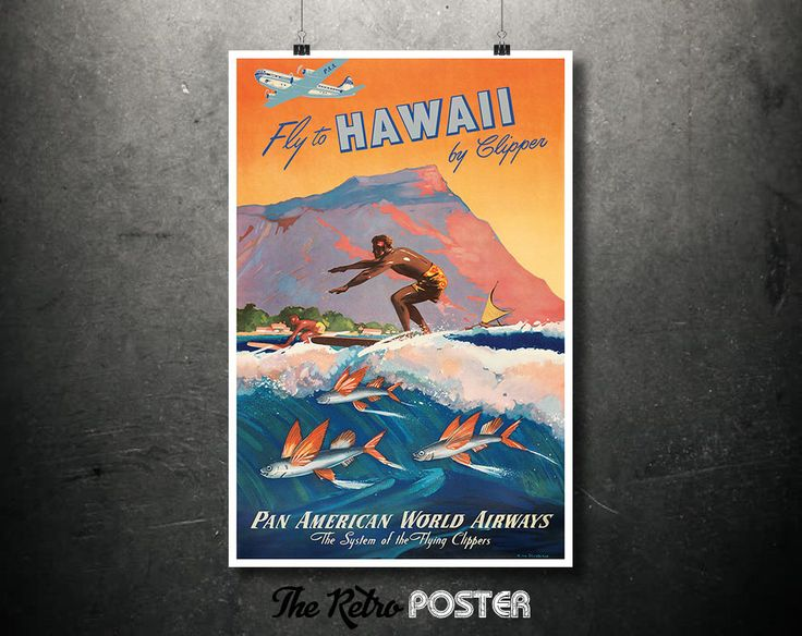 Fly to HAWAII by Clipper - Pan Am - Surf, Surfers, Surfing, Beach, Hawaiian, Airline, Home Wall Decor Travel Gift Poster Art Prints Vintage by TheRetroPoster on Etsy