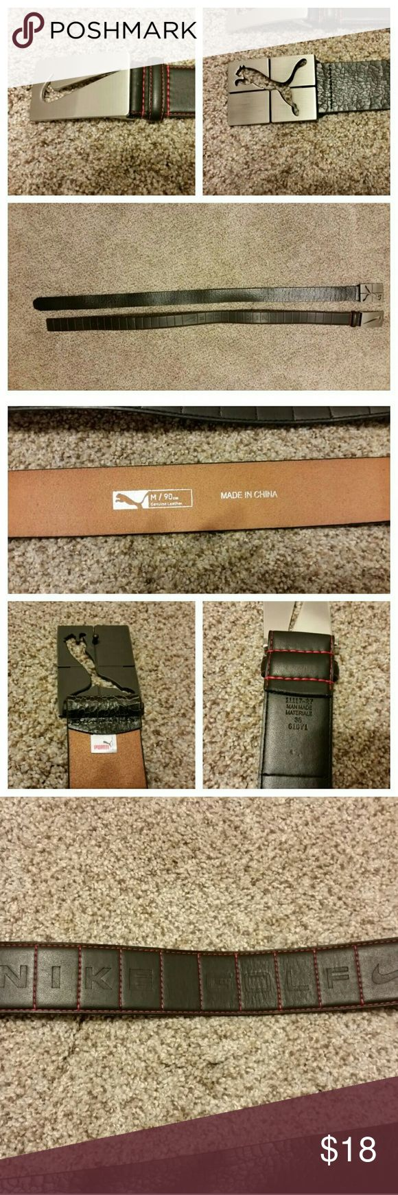 Golf belts Nike and Puma Puma belt is crackle leather and has a spot on the inside.   Nike belt is man made an says NIKE GOLF across  the center of the belt. Size 36 Nike Accessories Belts