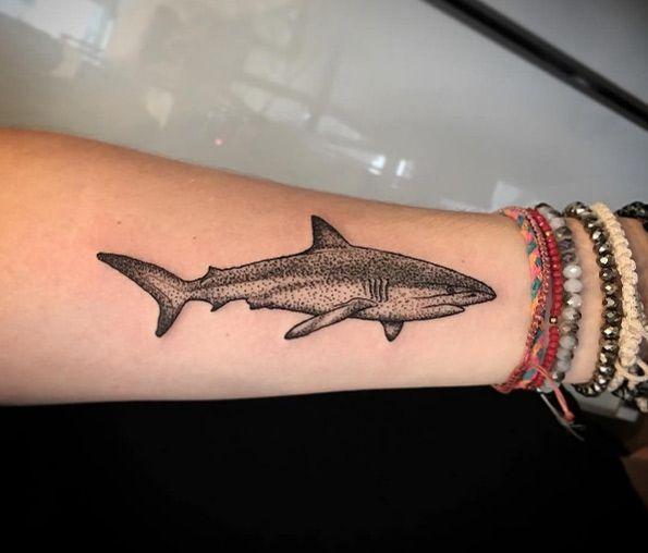 Dotwork shark tattoo by Black Line Studio