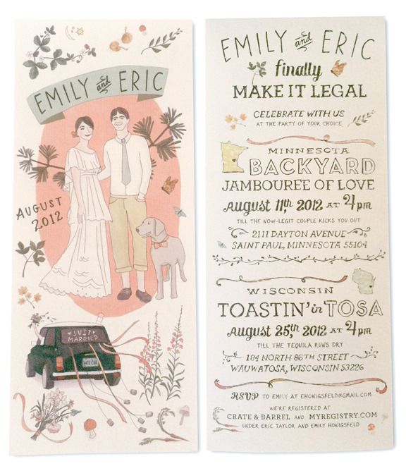 hand illustrated invites. How cute is this