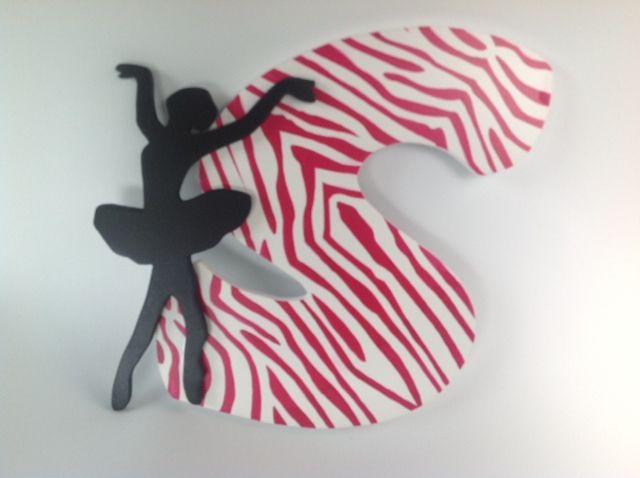 Letter with ballet balerina with zebra animal print