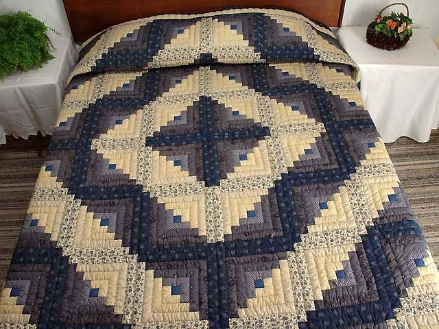 photo of Blue and Tan Log Cabin Quilt