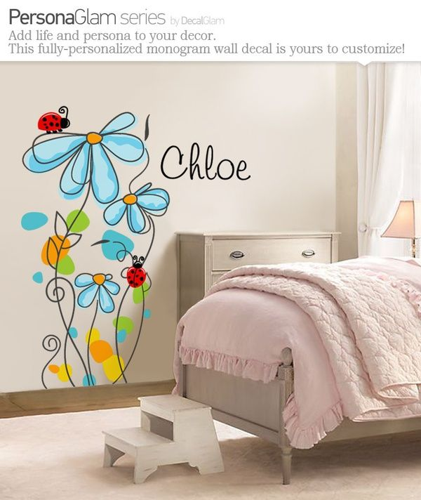 Childrens Wall Decal - Flowers  Ladybugs with Name Personalization - Large Vinyl Art Sticker - For Nursery or Kids Room or Girls - Modern