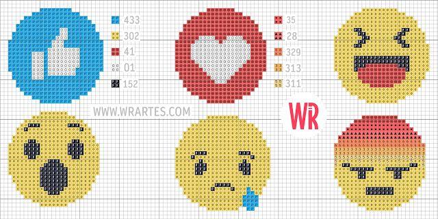 Blog do Wagner Reis: Gráfico novos botões do Facebook em ponto cruz (Reações)