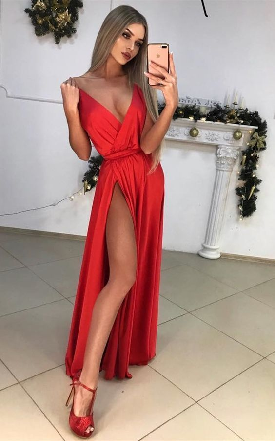 7b3cbee8e4 A-Line Deep V-Neck Floor-Length Red Satin Prom Dress with Split