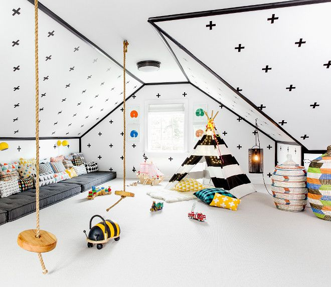 Playroom Decals. The walls are actually covered with Decals, not wallpaper. The decals are made by a company called Urban Walls. #Playroom #Decal Chango & Co. Sean Litchfield Photography.