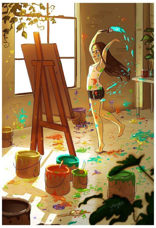 Die Freuden des Lebens allein perfekt vom Illustrator Yaoyao Ma Van As festgehalten. #livingalone #illustration #drawings #poetry #glück #yaoyaomavanas