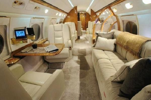 The interior of a private Gulfstream jet! Amazing what 40-50 million can buy...