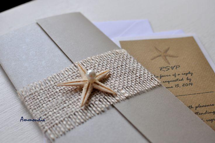 Destination beach wedding invitation   gatefold by AMMOUDIA, $6.00