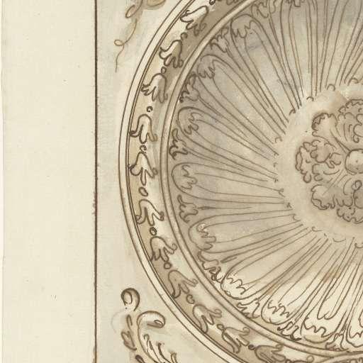 Ornamentaal plafondontwerp in achtkant, Elias van Nijmegen, 1677 - 1755 - Rijksmuseum