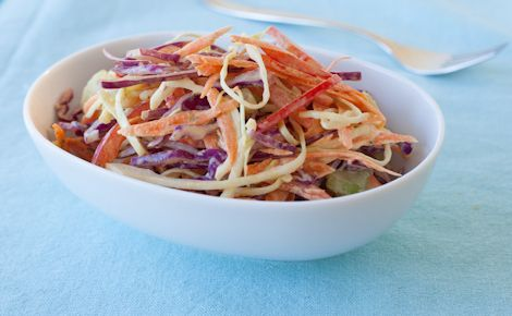 Epicure's Mango Curry Coleslaw (120 calories/serving) + serve with a sandwich made with lean protein.