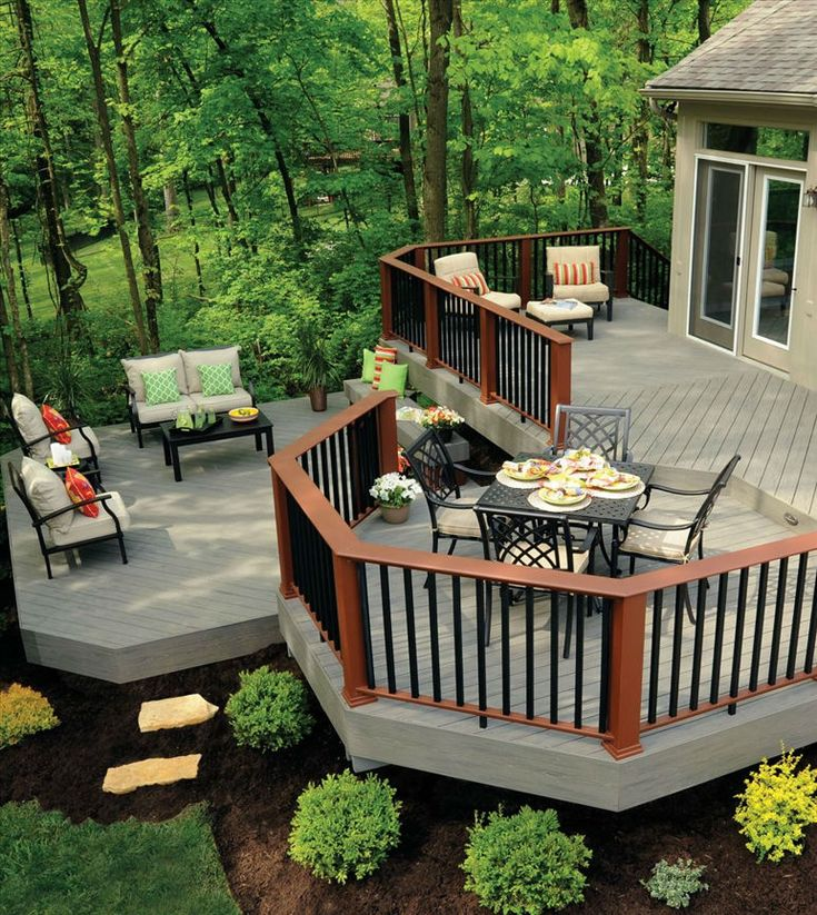 Multi-level decks can help the flow of your deck and give definition and dimension to your new space. Different levels create clearly defined spaces such as a sitting area or a dining area, which can be great if you are having a bunch of people over for a cook out!