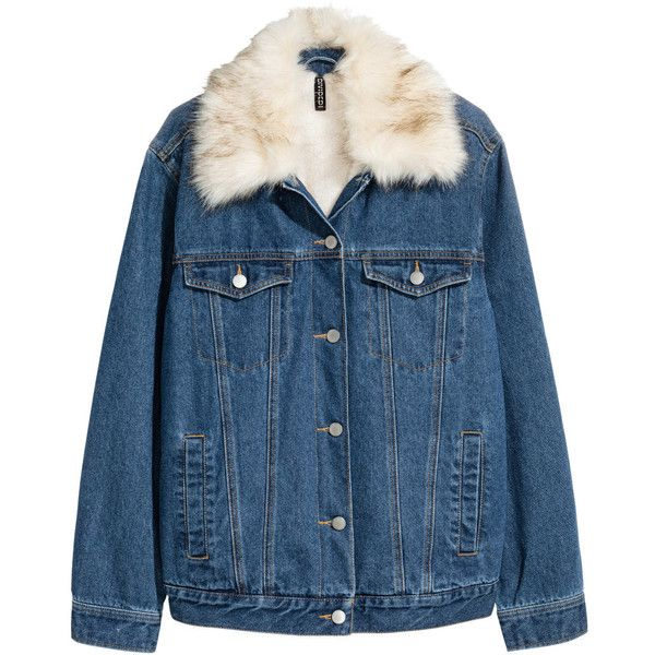 Pile-lined Denim Jacket $69.99 ($70) ❤ liked on Polyvore featuring outerwear, jackets, denim, veste, faux fur collar jacket, dark blue denim jacket, button jacket, blue jean jacket and dark denim jacket