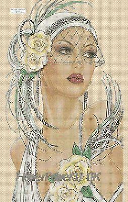 Cross stitch chart Art Deco Lady 6 Flowerpower37-uk.-.free uk P&p