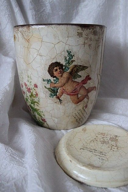 """Купить Цветочное кашпо """"Ангелы в саду"""" - Декупаж, подарок на 8 марта, подарок"""