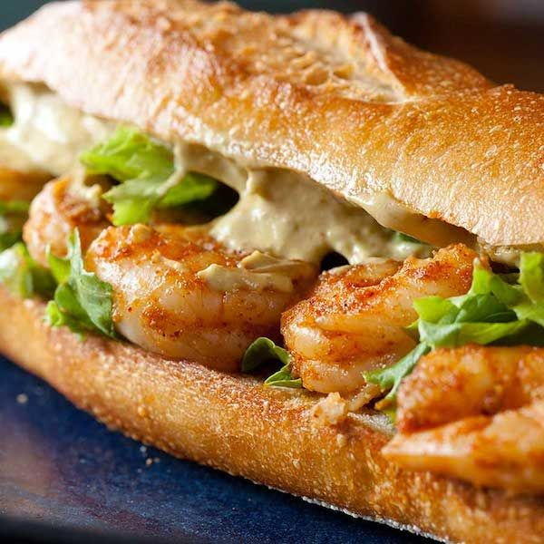 Just put on Gluten Free roll! Spicy Shrimp Sandwich with Chipotle Avocado Mayonnaise